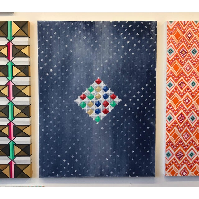 Multi-Colored Geometric Diamond Oil Painting For Sale - Image 4 of 8