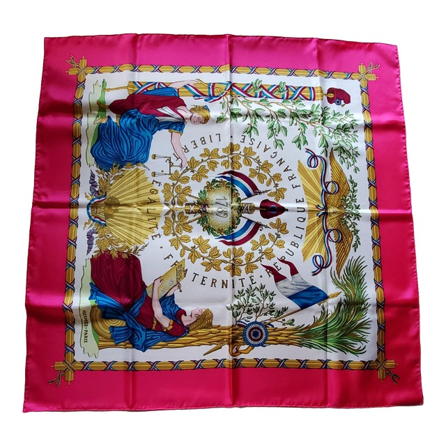 1990 Hermes Scarf With Box, Bag, Receipt, Care Card For Sale