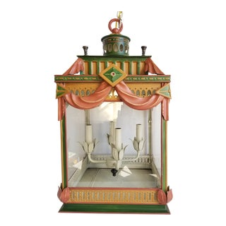 Large Highly Decorative Painted Tole Lantern For Sale