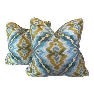 Aqua Ikat Pillows - a Pair For Sale