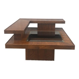 Mid Century Modern End Table With Mirrored Glass Top For Sale