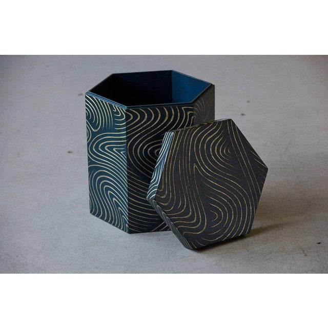 Blue Hexagonal Dark Blue Box With Carved Gilded Graphic Pattern For Sale - Image 8 of 9