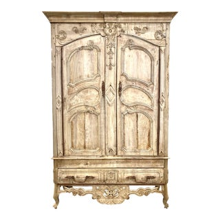 French Louis XV Bleached Carved Armoire Ca. 1728 For Sale