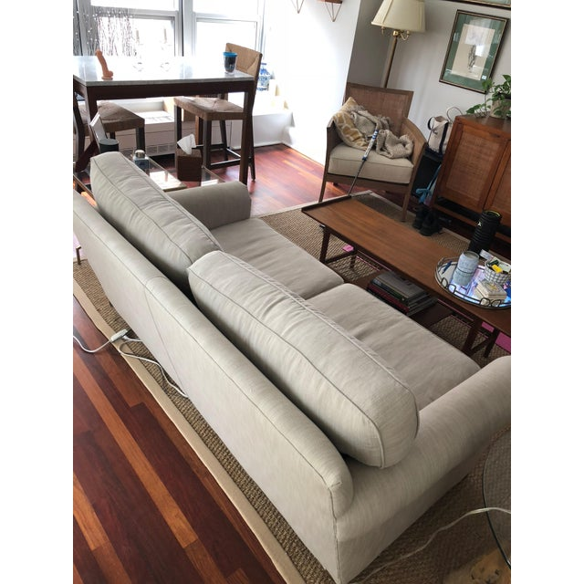 Restoration Hardware Modern Restoration Hardware Linen Upholstered Standard Sofa For Sale - Image 4 of 8
