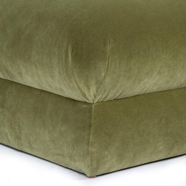 Casa Cosima Casa Cosima Milan Ottoman in Olive Velvet For Sale - Image 4 of 6
