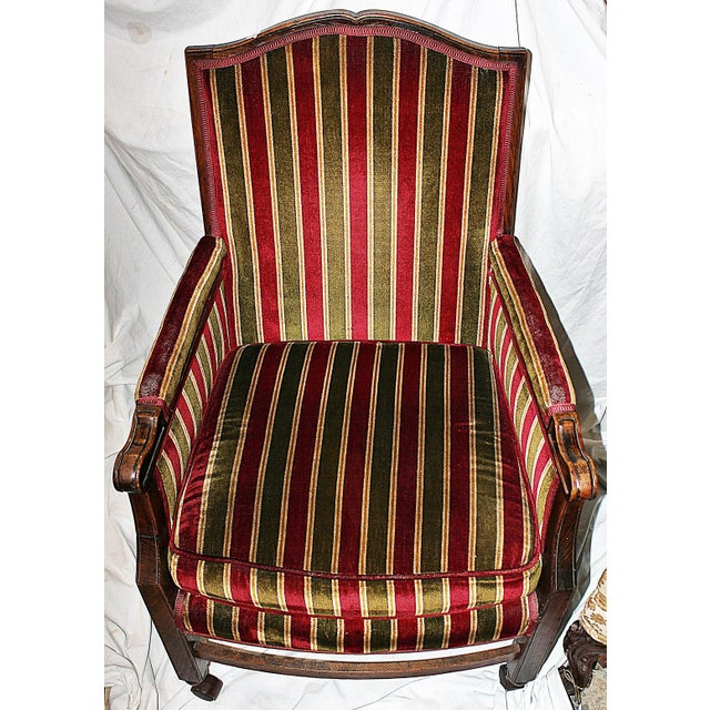 Rolling French Chair in Velour Stripe For Sale - Image 4 of 6