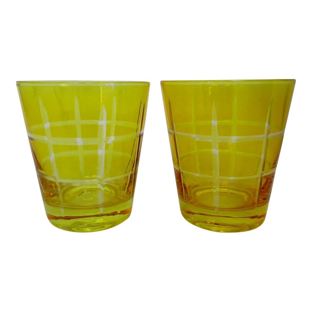 Etched Double Old Fashioned Glasses - A Pair For Sale