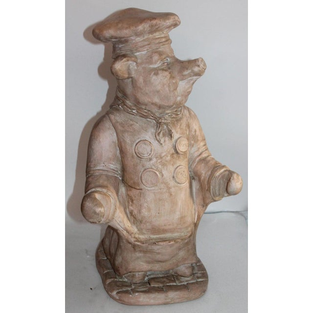 Midcentury Painted Pottery Pig Holding Sign For Sale - Image 9 of 13