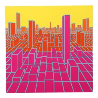 "1970s Roy Ahlgren, ""Urban Sprawl"", Op Art Screenprint For Sale"