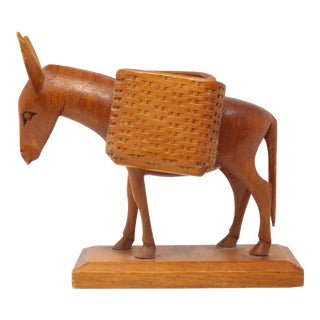 Vintage Carved Wood Donkey Desk Card Holder For Sale