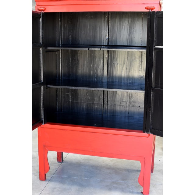 Chinese Red Wedding Cabinet For Sale In Los Angeles - Image 6 of 13
