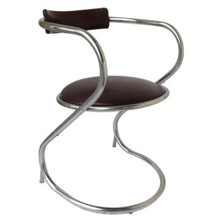 Mid-Century Chrome Cantilever Office Chair