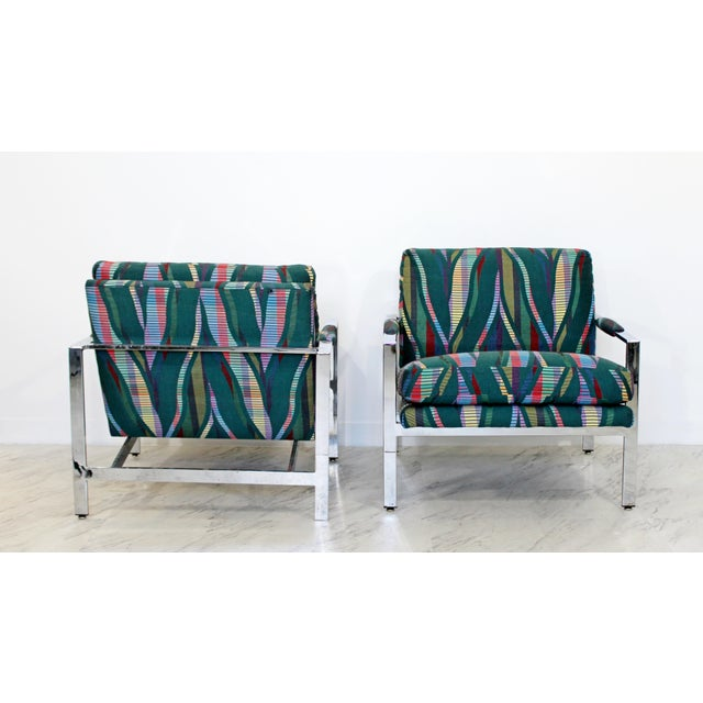 1970s Mid Century Modern Milo Baughman Flatbar Lounge Chairs - a Pair For Sale In Detroit - Image 6 of 9