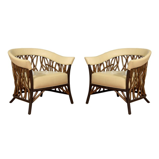 Stunning Pair of Rattan Club Chairs in Parchment Leather For Sale - Image 10 of 10