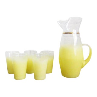 Vintage Lemon Yellow Blendo Pitcher and Glasses - Set of 6 For Sale