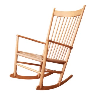 Hans Wegner Danish Modern J-16 Rocking Chair For Sale