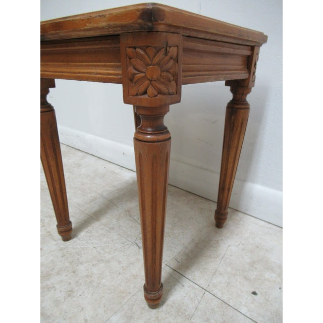 1930s French Carved Marble Top End Table For Sale In Philadelphia - Image 6 of 12