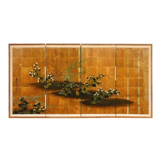 Japanese Four Panel Floral Gold Leaf Byobu Screen For Sale