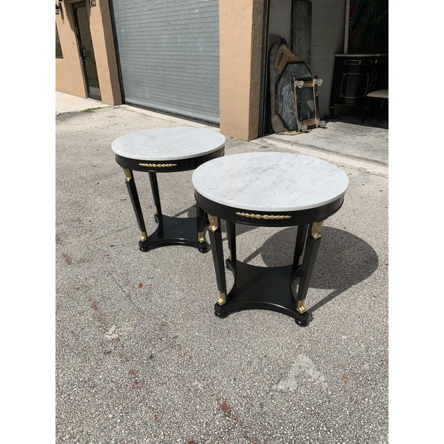 1910s 1910s Antique French Empire Marble Top Accent Tables or Gueridon Tables - a Pair For Sale - Image 5 of 13