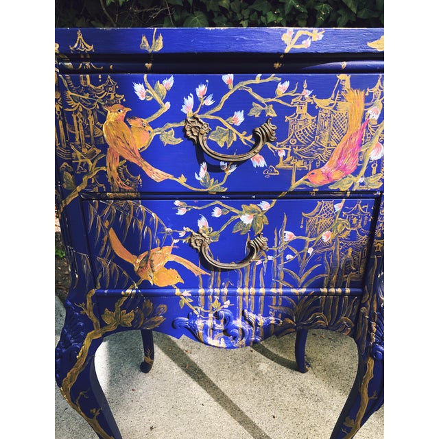 1930s Hand Painted Chinoiserie Nightstands with Birds - a Pair For Sale In Los Angeles - Image 6 of 13