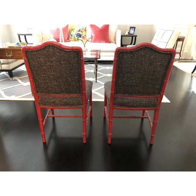 Chinoiserie Faux Bamboo Style Chairs- a Pair For Sale In Chicago - Image 6 of 9