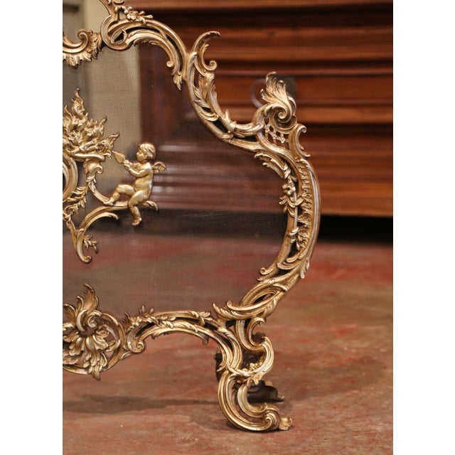 19th Century French Louis XV Carved Bronze Doré Fireplace Screen With Cherubs For Sale In Dallas - Image 6 of 8
