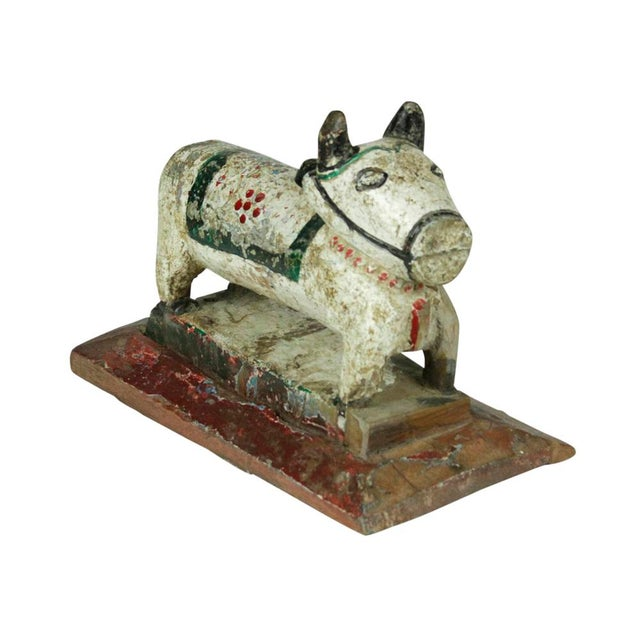 Antique White Hand Carved Nandi For Sale - Image 4 of 4
