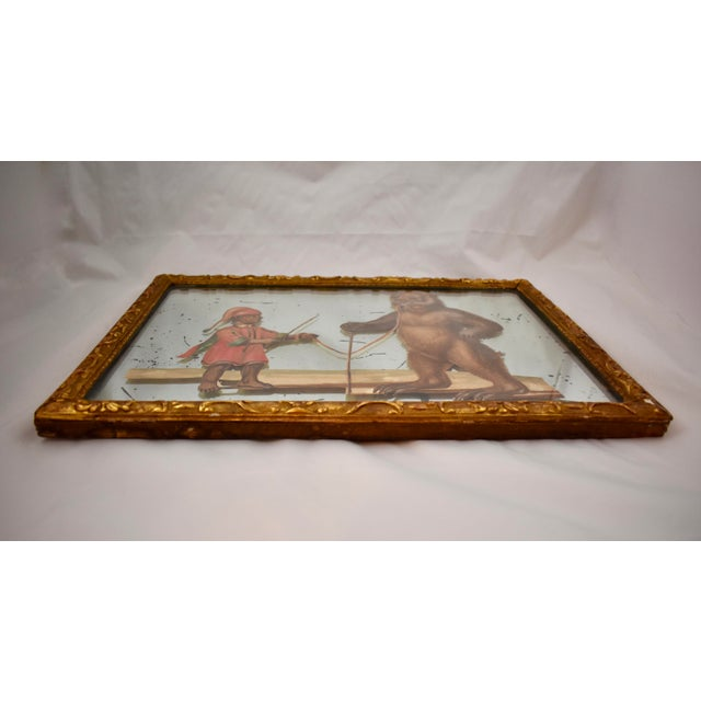 19th C. French Exotic Hand-Painted Decoupage Mirror, Animal Trainer & Bear For Sale - Image 10 of 13
