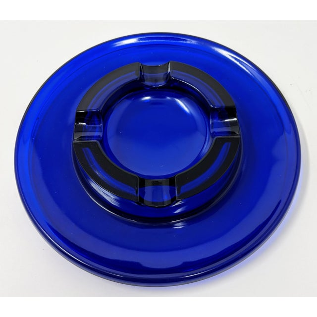 1950s 1950s Cobalt Blue Glass Ashtray For Sale - Image 5 of 5