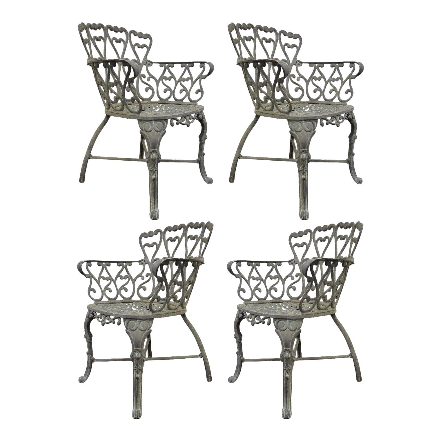 Vintage Cast Aluminum Heart Back French Style Patio Chairs
