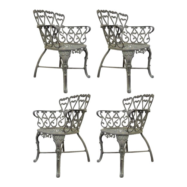 Vintage Cast Aluminum Heart Back French Style Patio Chairs - Set of 4 For Sale