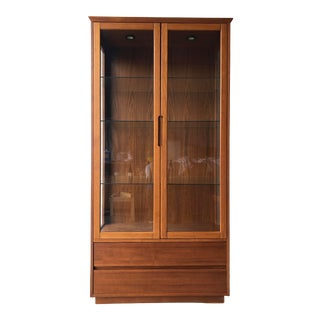 Vintage Mid Century Modern Danish China Display Cabinet With Drawers. For Sale