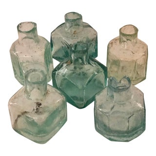 Early 20th Century Blue/Green Glass Ink Bottles - Set of 6 For Sale