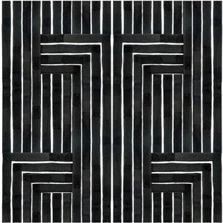 Chiseled Black & White Prepasted Wallpaper For Sale