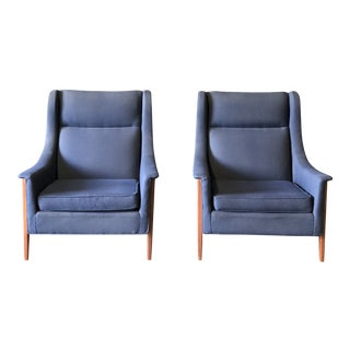 Danish Pair of Blue Wingback Lounge Chairs by Folke Ohlsson For Sale