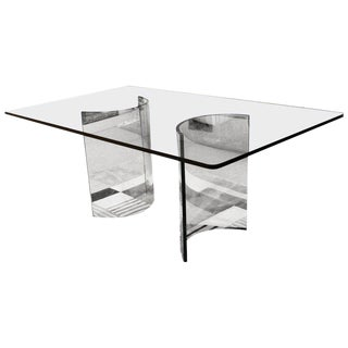 1970s Pace Mid-Century Modern Sculptural Rectangular Glass Dining Table For Sale