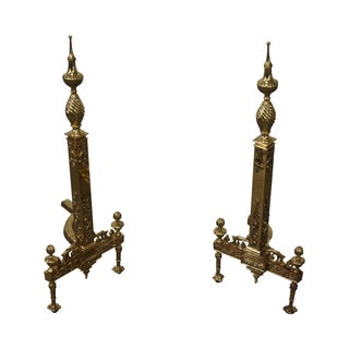 Vintage Brass Regency Style Andirons - A Pair For Sale
