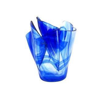 Serviente Hand Blown Blue and Clear Handkerchief Vase For Sale