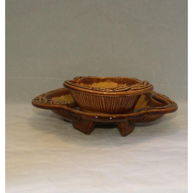 Vintage California Pottery Orange Sunburst 2 Tier Serving Dish For Sale - Image 4 of 8