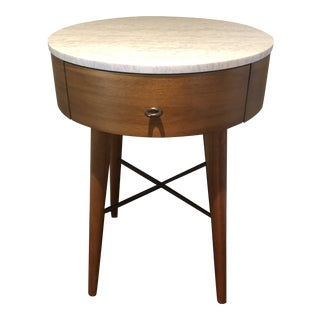 West Elm Marble Top Side Table For Sale