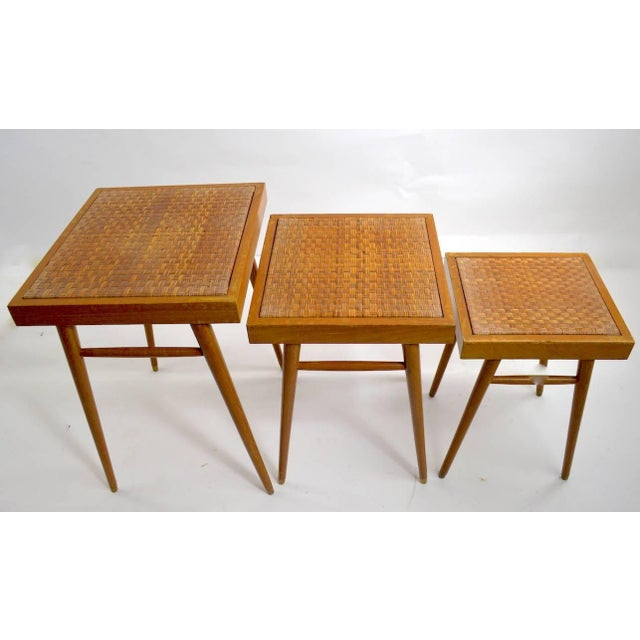 Unusual to find nesting table sets in pairs, two sets of three each tables. These tables are graduated in size, dimensions...