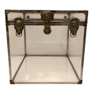 C. 1970 Vintage Lucite & Brass Exposed Cube Trunk or Display Case For Sale