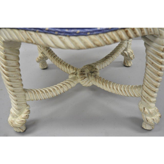 Rope Late 20th Century Vintage Italian Hollywood Regency Rope & Knot Carved Wood Napoleon III Stools- A Pair For Sale - Image 7 of 9