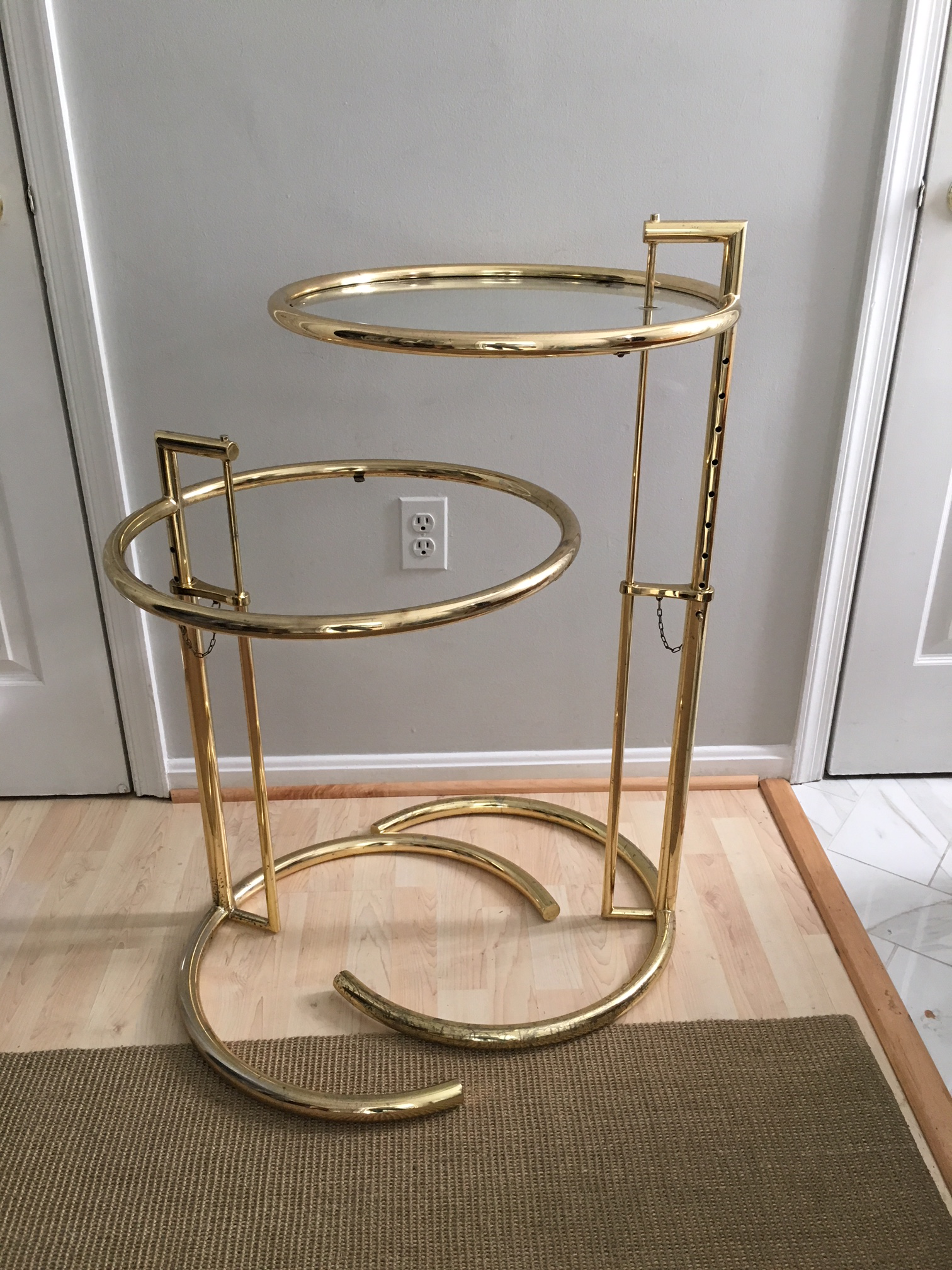 Vintage Eileen Gray Style Brass Side Tables   A Pair   Image 2 Of 10