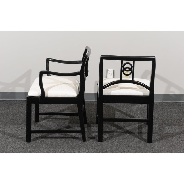 Black Chic Restored Set of 6 Dining Chairs by Baker Furniture, circa 1960 For Sale - Image 8 of 13
