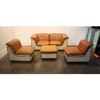 1960's Scandinavian Leather and Linen Modular Sectional Sofa Preview