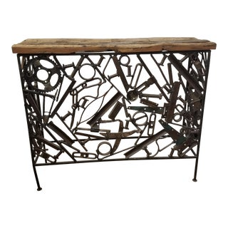 Industrial Handmade Wrought Iron Hall Console For Sale