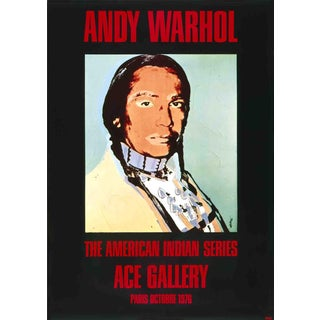 """Andy Warhol American Indian (Black) 49.25"""" X 35"""" Poster 1976 Pop Art Black, Red, Blue, Brown For Sale"""