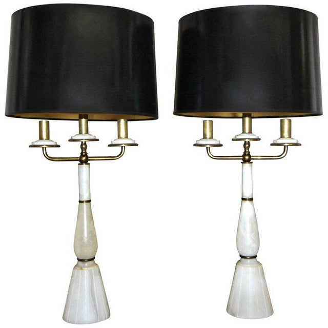Italian Gio Ponti Style Alabaster Brass Lamps - a Pair For Sale - Image 13 of 13