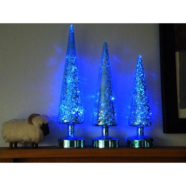Lighted Christmas Tree.Minimalist Blue Lighted Christmas Tree Decorations Set Of 3
